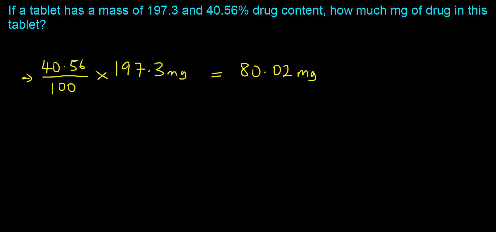 How much drug in the tablet-RxCalculations