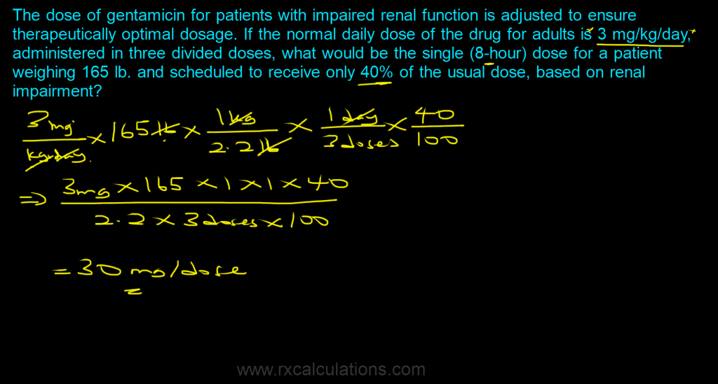 Dose Calculations-body weight - RxCalculations
